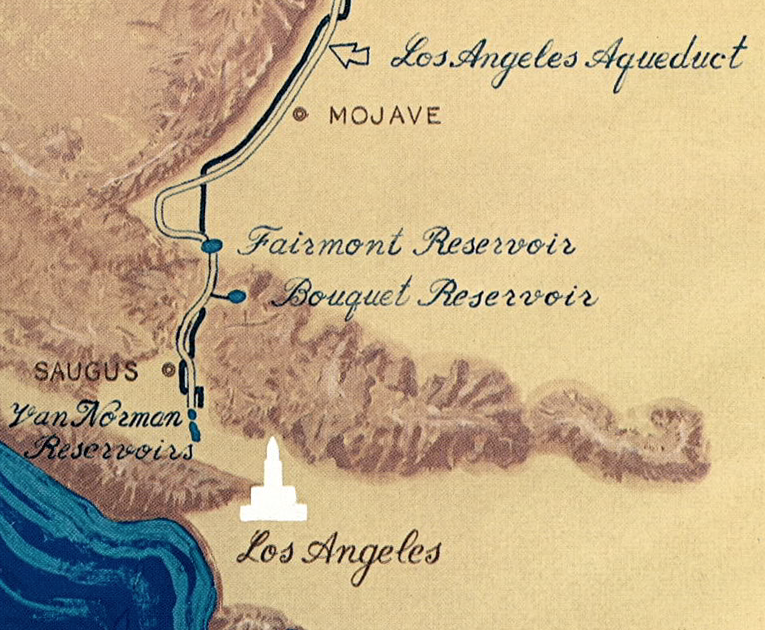 (above) A vintage map illustrates the route of the L.A. Aqueduct